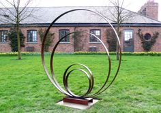 #Steel #sculpture by #sculptor Philip Melling titled: 'Loop III (Concentric Circle Metal sculptures abstract garden/Yard statue)'. #PhilipMelling