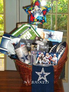 Sports/Football/ Cowboys/ Birthday Birthday Gift Baskets, Birthday Gifts, Gift Baskets For Him, Cowboy Birthday, Sports Gifts, Creative Gifts, Cowboys, Valentine Gifts, Flower Arrangements