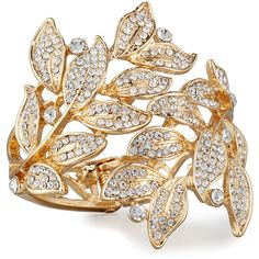 Lydell Nyc Pave Crystal Leaves Statement Cuff Bracelet ($29) ❤ liked on Polyvore featuring jewelry, bracelets, clear crystal jewelry, vine jewelry, hinged cuff bracelet, pave crystal jewelry and pave jewelry
