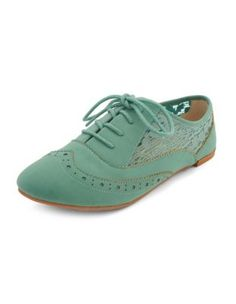 Sheer Lace Inset Nubuck Oxford