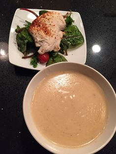 Bobs Crème of Cauliflower and Onion Soup. Chicken over a bed of Spinach with Balsamic.