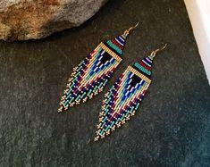 Native American Beaded Fringe Earrings Valentine Gift For Her White Gold Black Turquoise Blue Orange Red Minimalist Huichol Glass Seed Bead