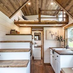 """Thistle"" Tiny House on Wheels by Summit Tiny Homes Tiny House Movement // Tiny Living // Tiny House Living Room // Tiny Home Kitchen // Tiny House Design, Home Design, Home Interior Design, Tiny Homes Interior, Design Ideas, Interior Livingroom, Tiny House Movement, Tiny House Plans, Tiny House On Wheels"