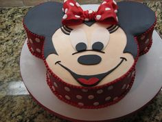 """Minnie Mouse - This is a cake I did for a little girls 2nd birthday.  The head of the cake is a 10"""" round and the ears are 6"""" round cakes that I trimed to fit the shape of the head.  The sides and face are buttercream, and the facial features and ears are done in fondant."""