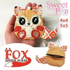 Fox Zipper Purse 4x4 5x5 in the hoop machine embroidery design - Sweet Pea