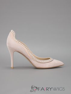 2e18bc63f8ded Elegant Fashionable Nude Pink Decorated Rivels Pointed ToeHigh Heels