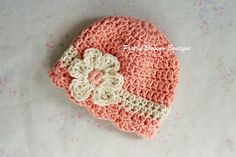 Crochet Newborn Hat Baby Cotton Hat Peach and by PBlossomBoutique, $22.00