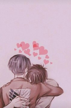 Eren, Levi, yaoi, EreRi, RiRen, hugging, hearts; Attack on Titan