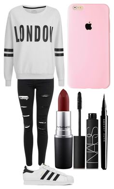 """Untitled #393"" by just-some-girl-on-the-internet ❤ liked on Polyvore featuring beauty, Topshop, adidas, MAC Cosmetics, Marc Jacobs, NARS Cosmetics and ONLY"
