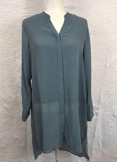 Soft Surroundings Womens Medium Luisa Tunic Steel Green Chiffon Shirt Top Blouse  | eBay