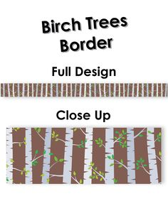 Use this simple Birch Trees border to bring a natural feel to your bulletin boards and displays. This birch tree forest with wispy green leaves will give outdoor inspiration inside your classroom. This border is great for seasonal decorating and a variety of bulletin board themes (science, plants, trees, nature, forests, camping, etc.)