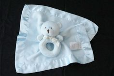 Carters Blue Bear Ruffle Satin Ring Rattle Striped Security Blanket Lovey Set #Carters
