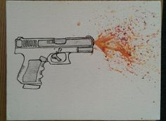 Gun drawing with splatter water color for sale on Etsy by HaleySheaFarAway