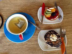 Fruit Tart, Chocolate Eclair, & Herbal Tea, JJ Bistro