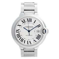 For Sale on - Cartier Ballon Bleu Midsize Stainless Steel Watch - Automatic. Stainless steel case Silver guilloche dial with black Roman numerals. Cartier Watches Women, Cartier Men, Stainless Steel Watch, Stainless Steel Bracelet, Cartier Ballon Bleu, Cartier Roadster, Tank Watch, Cartier Bracelet, Bathtub