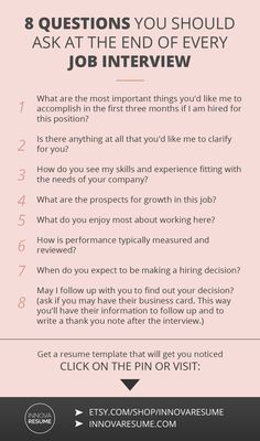 Questions you should ask at the end of every job interview. Need a resume that will land you a job interview? Visit: https://www.etsy.com/shop/InnovaResume