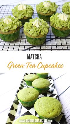 Not only do these green-hued muffins taste delicious but thanks to Matcha powder they have an extra boost of antioxidants and flavor! Boost your cupcake game with these delicious matcha green tea cupcakes! Green Tea Cupcakes, Matcha Cupcakes, Matcha Cake, Cupcake Recipes, Baking Recipes, Cupcake Cakes, Dessert Recipes, Green Tea Drinks, Green Teas