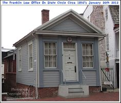 A photograph of the old Franklin Law Office, circa 1850's, on State Circle In Annapolis Maryland. This Greek Revival style building was built by James Shaw Franklin an Annapolis attorney in the mid 19th century. Photograph taken on January 26th 2012. To see a full size version of this photograph and the Annapolis Experience Blog article click on the Visit Site button. Image and article Copyright © 2015 G J Gibson Photography LLC.