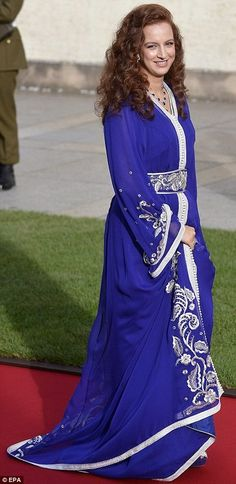 Princess Lalla Salma of Morocco at the wedding of Countess Stephanie de Lannoy and Prince Guillaume.