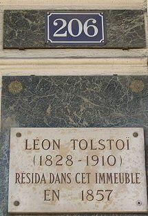 206, rue de Rivoli - Paris 1er, Leon Tolstoi, 1857