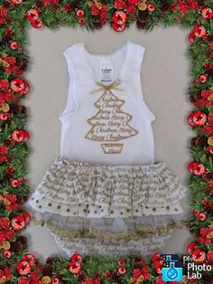 Christmas RUffled Bum Diaper Set Size 6 - 12 months by Ozbods on Etsy