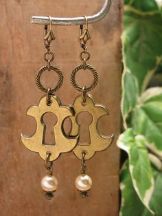Upcycled Keyhole Escutcheon Leverback Earrings  Fancy by thekeyofa