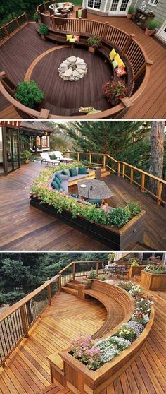 8. These decks with built-in benches are ideal for gathering with guests, as it has multiple areas for entertaining.
