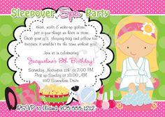 Sleepover Spa Party Invitation -