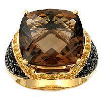 Smokey Quartz, Black And Yellow Sapphire Ring In 14K Yellow Gold - Sam's Club