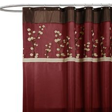 red and tan shower curtain. Cocoa Flower Red Fabric Shower Curtain  Turn these into curtains to match the new bedding Nicole Miller Willow 72 x Plum Bed