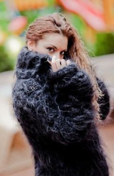 ____________ COLOUR : Black ( There may be a slight difference because of the different monitors' representation) ____________ ♥ In the picture the model is wearing a garment with these meas Thick Sweaters, Hand Knitted Sweaters, Mohair Sweater, Knit Sweater Dress, Cool Sweaters, Gros Pull Mohair, Turtleneck Outfit, Thing 1, Handmade Dresses
