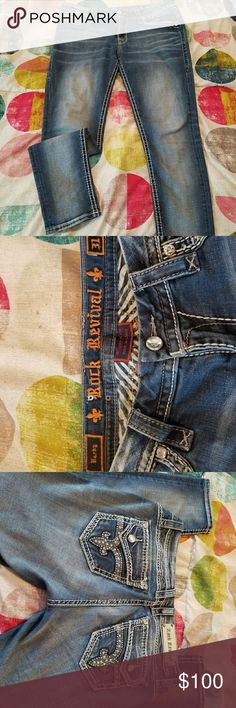 "Rock Revival barby style skinny jeans Size 31 barby style ankle skinny jeans. Super cute. Stretch. Inseam is 29 or 30. For reference im 5'4"" and there full length on me. Super cute! Rock Revival Jeans Skinny"