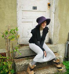 Knitted Winter Hat Floppy Brim Hat XLARGE by ArtandFoundApparel