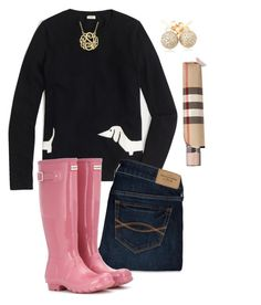 """""""Untitled #128"""" by hayley-tennis ❤ liked on Polyvore featuring J.Crew, Abercrombie & Fitch, Hunter, Loushelou and Burberry"""