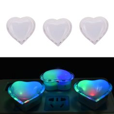 1Pc Love Heart Wall Nightlights LED Night Light Romantic Home Decor Lamp Light #UnbrandedGeneric