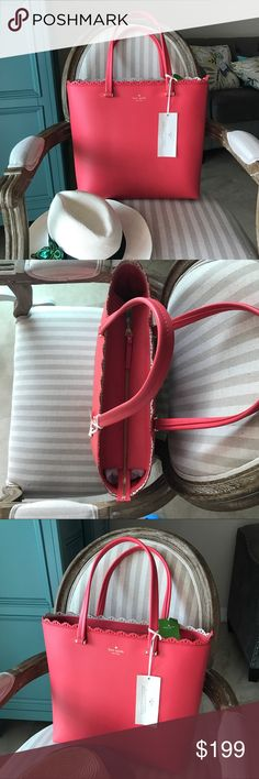 "Kate Spade❤ Large Tote Coral Leather ""Marjorie"" Kate Spade Marjorie leather tote. Coral 13.5""L x 13"" Hx 5"" W Brand new with tag attached Zip top closure Gold tone hardware Fully lined  🔴No trades ✅Tag attached ✈️Fast shipping/ same day next kate spade Bags Totes"