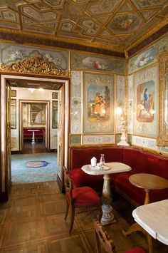 """On December 1720 Floriano Francesconi opened a coffeehouse under the arcades of Procuratie Nuove and gave it the name """"Alla Venezia Trionfante"""", or Triumphant Venice. Initially one of the many coffeehouses in Venice, perhaps because of the outgoin… Santa Lucia, Middle Eastern Decor, English Interior, Hotel Restaurant, Venice Travel, Florence Italy, Venice Italy, Contemporary Architecture, Old Things"""