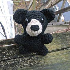 crochet black bear teddy bear amigurumi teddy bear by SalemsShop