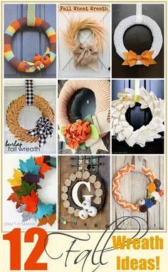 12 Fall Wreath Ideas! #fallwreaths