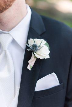 Groomsmen Wedding Photos, Wedding Tux, Floral Wedding, Black Tux, Black Suits, Blue Boutonniere, White Spray Roses, Silver Dollar, Weeding