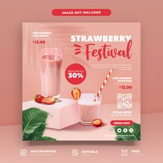 Smoothie Menu, Digital Menu, Food Graphic Design, Strawberry Milkshake, Layout, Poster Ads, Social Media Template, Food Menu, Food Posters