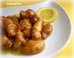 Pollo al limón (Estilo chino) con Thermomix Pollo Chicken, Chicken Wings, Tapas, Kitchen Dishes, Meat Lovers, Arroz Frito, Chicken Recipes, Food Porn, Food And Drink