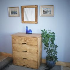 Large chest of drawers in sustainable natural wood, tall dressing table, modern rustic, 90 high x 80 wide cm, custom handmade Somerset UK Wooden Furniture, Bedroom Furniture, Wooden Bedroom, Furniture Ideas, Handmade Drawers, Large Chest Of Drawers, Sustainable Furniture, Dresser As Nightstand, Dressing Table