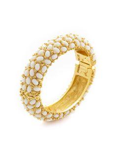 White Cabochon Bangle Bracelet by Kenneth Jay Lane at Gilt