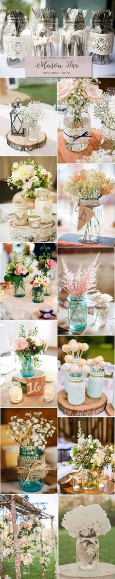 Top 14 Rustic Wedding Themes & Ideas for Part I Rustic country wedding ideas – mason jar wedding centerpieces & decor / www.deerpearlflow… Top 37 Rustic Wedding CenTop 20 Rustic Country WedThe Top 100 DIY Wedding I Wedding Centerpieces Mason Jars, Rustic Wedding Centerpieces, Bridal Shower Decorations, Wedding Table, Wedding Ceremony, Wedding Decorations, Centerpiece Ideas, Shower Centerpieces, Small Centerpieces
