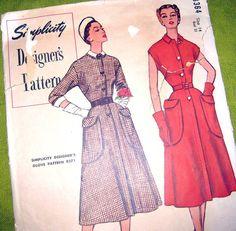 1950 Vintage Sewing Pattern  SImplicity Designer's by SelvedgeShop, $20.00