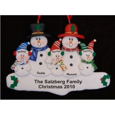 Snow Family for 5 - New Baby Family Christmas Ornament