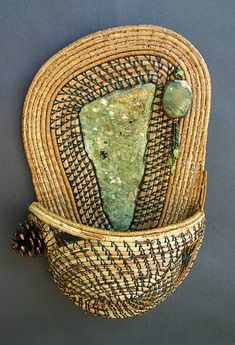 Walk In the Woods: This pine needle basket is made with Rain forest Jasper, pine needles, glass and stone beads, Lodge Pole cone. Native American Baskets, Native American Pottery, Weaving Art, Hand Weaving, Pine Needle Crafts, Making Baskets, Bountiful Baskets, Pine Needle Baskets, Pine Needles