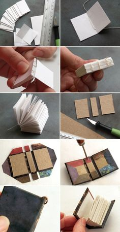 homemade miniature book key chain idea