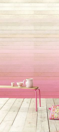 i love this ombre wood wall in pastel pinks. This would look sweet with so many color stories! Deco Pastel, Wood Panel Walls, Paneled Walls, Wooden Walls, Deco Design, Home And Deco, Interior Exterior, Interior Design, Wall Treatments